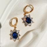 韩国复古宝石蓝色剔透轻奢耳扣高级感冷淡风气质简约耳环耳饰
