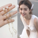 S925银针韩国小珍珠气质个性百搭长款甜美少女流苏耳钉女