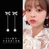 S925银针韩国蝴蝶结珍珠气质长款个性百搭耳钉耳饰