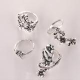 欧美新款流行女式戒时尚个性古银色森系藤蔓树叶花朵戒指4件套装