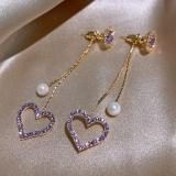 S925银针韩国紫色桃心珍珠流苏新款潮气质网红长款耳钉耳饰女