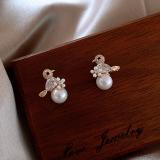 S925银针韩国小鸟珍珠锆石新款潮小众个性气质耳钉耳环