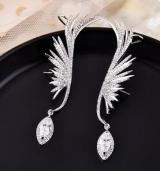 S925银针韩国天使之翼翅膀精灵水滴高级感闪钻气质耳骨夹耳钉耳饰女