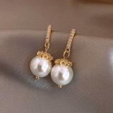 S925银针韩国巴洛克风珍珠花朵镶钻网红气质耳钉耳饰女