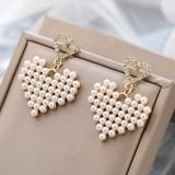 S925银针韩国气质几何桃心形微镶珍珠少女超仙耳钉耳环