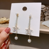 S925银针韩国新款水晶花朵珍珠吊坠长款显脸瘦气质耳钉耳饰潮