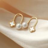 S925银针韩国珍珠新款潮气质简约四叶草珍珠U型耳钉女