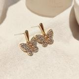 S925银针韩国新款热卖满钻蝴蝶金色气质网红超仙耳钉耳饰女