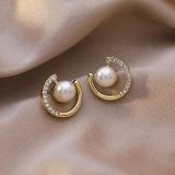 S925银针韩国珍珠水钻圆形新款潮小巧气质网红耳钉耳饰女