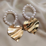 S925银针韩国高级感珍珠爱心夸张大耳环气质网红个性大耳钉耳环耳饰