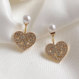 S925银针韩国锆石爱心珍珠2020年新款潮精致超仙气质耳钉
