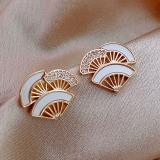 S925银针韩国扇形银杏叶气质网红时尚个性耳钉