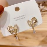 S925银针韩国东大门同款气质蝴蝶结水晶时尚个性耳钉耳环女