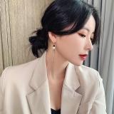 韩国流苏长款2020新款气质网红圆片字母复古飘逸耳环