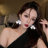 S925银针韩国个性夸张蝴蝶气质时尚网红爆款百搭闪钻高级感耳钉女