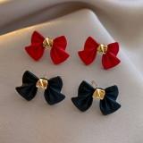 S925银针韩国黑色红色蝴蝶结简约个性网红小巧气质耳钉