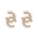 S925银针韩国2020新款潮气质百搭珍珠闪钻螺旋网红小巧精致耳钉