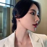 S925银针韩国高级感满钻网红锆石新款气质ins潮耳钉