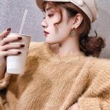 S925银针韩国新款潮网红气质个性小香风千鸟格复古港风耳钉耳饰
