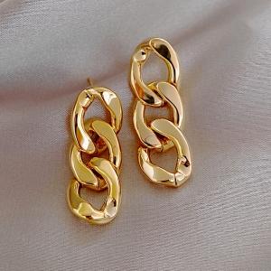 S925银针欧美风链条金属ins冷淡风新款气质女网红耳钉耳环