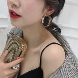 S925银针韩国秋冬新款毛绒豹纹气质个性简约圆环耳圈耳环女