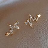 S925银针韩国爱心心跳镶钻2020新款潮网红气质小巧耳钉耳饰女