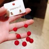 S925银针韩国东大门夸张红色珍珠长款气质网红个性超仙流苏简约耳环耳钉女