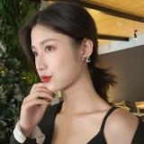 S925银针韩国复古豹纹几何菱形简约个性网红新款耳钉耳饰