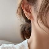 S925银针韩国东大门气质锆石鱼尾巴镶钻精致小巧甜美耳钉耳环