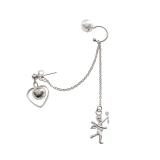 S925银针韩国个性链条爱心超仙精灵一体式少女流苏气质耳饰耳骨夹【单只包】