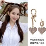 S925银针韩国个性不对称满钻金属爱心淑女风日常百搭创意打结金属耳钉耳环女
