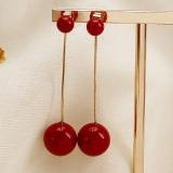 S925银针韩国红色珍珠长款吊坠简约百搭网红气质耳环耳钉女