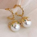 S925银针韩国高级感复古宫廷风珍珠网红气质花瓣绿钻耳钉耳环