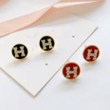 S925银针韩国新款字母H镶钻气质网红简约小巧百搭耳钉