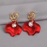 S925银针韩国玫瑰花瓣红色夸张网红气质长款时尚新款耳钉耳环