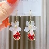 S925银耳钩韩国高级感白色花朵红色猫眼石女时尚气质网红爆款耳环耳饰女