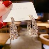 S925银针韩国复古巴洛克水钻个性夸张网红个性耳环耳饰女