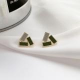 S925银针韩国新款撞色几何三角形复古小巧耳钉耳饰女