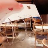S925银针韩国夸张大圈圈简约设计感经典时尚细圈耳圈女