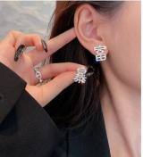 S925银针韩国高级感满钻暴富暴瘦2021年新款简约气质个性网红耳钉耳饰