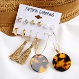 欧美跨境配饰时尚珍珠星星套装豹纹板材流苏耳环